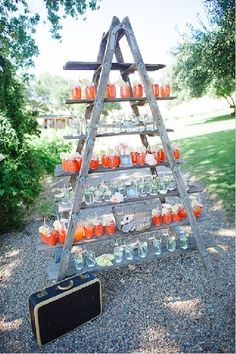 This is a fun way to display food/beverages ... just need to find an old wooden ladder.