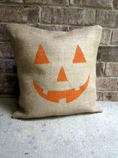 jack o'lantern burlap pillow