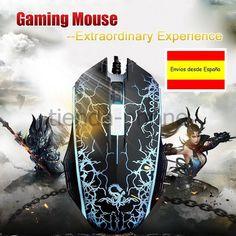 color Gaming Gamer juegos PC Ratón USB  botones óptico  LED.envio españa