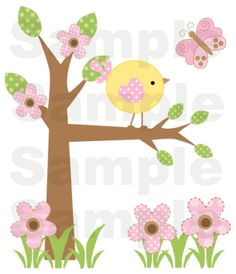 """Pink Brown """"Springtime In Bloom"""" Nursery Wall Mural measures 38.25"""" Tall and 33"""" Wide.  Graphics by Cocoa Mint."""