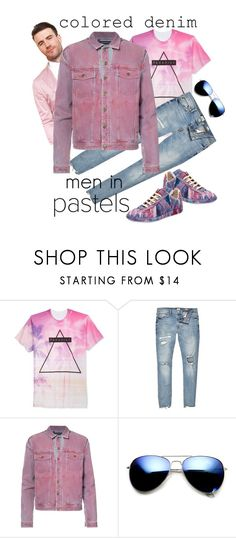 """Colored Denim (Men in pastels!)"" by antonio-b ❤ liked on Polyvore featuring Univibe, River Island, Y/Project, ZeroUV, Maison Margiela, men's fashion, menswear and coloredjeans"