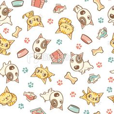 Dog and Cat seamless pattern design Pet Shop, Cats Tumblr, Pet Hotel, Dog Illustration, Dog Pattern, Free Vector Art, Pattern Wallpaper, Hello Kitty, Dog Cat