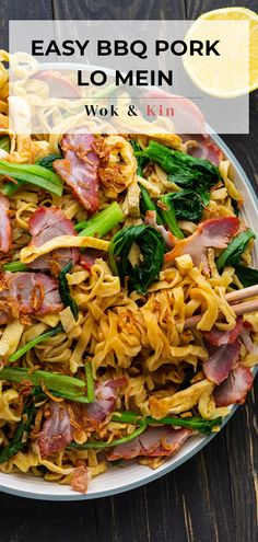 If you've never had Lo Mein, try this EASY recipe that comes together in 30 minutes! Flavourful noodles, sweet and salty bbq pork and crunchy vegetables, it's sure to be any party hit! #springrecipes #porknoodles #chinesenoodles Asian Noodle Recipes, Indian Food Recipes, Asian Recipes, Ethnic Recipes, Chinese Recipes, Chinese Bbq Pork, Asian Pork, Chinese Food, Pork Recipes