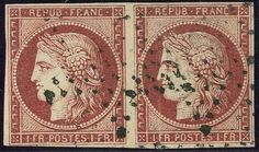 France - 1 Fr Cereskopf gest. i. waag. Paar, rs. kl. raue Stelle und min. Bugspur    Automatically generated translation:  1 fr Cereskopf used i. Horizontal pair, reverse small rough place and minimal trace of crease    Dealer  Karl Pfankuch & Co    Auction  Minimum Bid:  240.00EURO