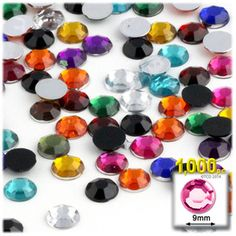 1000-pc Acrylic Flatback Rhinestones 9mm (42ss) Jewel Tone Mix