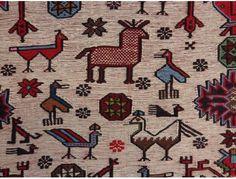 Afghan Oriental Rug, 4' 3 x 7' 5 Ivory Soumak