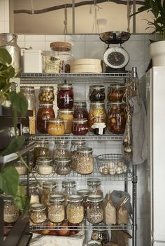 Open kitchen storage with food stored in glass KORKEN jars with lids. Open Kitchen, Kitchen Pantry, Kitchen Dining, Kitchen Decor, Kitchen Waste, Kitchen Utensils, Kitchen Furniture, Kitchen Tools, Kitchen Interior