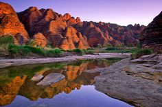 The striped beehive-shaped towers of the Bungle Bungles reflected in the still waters of Picaninny Creek. What Is Australia, Australia Country, Western Australia, Australia Travel, Places To Travel, Places To Visit, Scenery Pictures, Traditional Landscape, The Beautiful Country