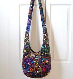 Hobo Bag, Crazy Quilt, Sling Bag, Patchwork, Bubbles, Rainbow, Colorful, Dots, Effervescence, Hippie Purse, Crossbody Bag