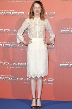 The Amazing Spider-Man 2 press conference, Rome - April 14 2014  Emma Stone wore a shirt and skirt by Dolce & Gabbana with Valentino heels.