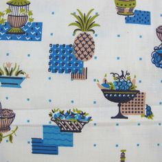 1950s Pineapples Novelty Print Vintage Cotton Fabric - A Piece of Cloth Vintage Fabric Merchants