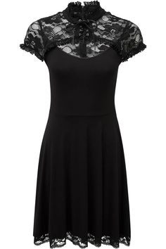Valerian Craft Dress [B] | KILLSTAR Embrace the dreamscape with the enchanted 'Valerian' craft-dress; a blend of soft touch jersey and decadent lace. With a flattering body and high-neck detailing. A lace-up front feature, key hole and accent hems. Zipped back for an easy on/off. A perfect enchantment of simplicity and statement; ideal for parties, events, nights-out or in with someone special.