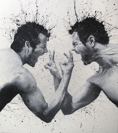 Paolo Troilo portfolio of paintings mostly involve one of the most difficult subjects to paint; the human body. The forms are strong in shape and evoke a powerful energy as splashes of paint shoot out from the body. His paintings seem to suggest a feeling of struggle as one looks at the flexed muscles and open mouths yelling to the skies.