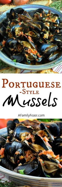 Portuguese-Style Mussels in Garlic Cream Sauce – A Family Feast® – Shellfish Recipes Shellfish Recipes, Seafood Recipes, Cooking Recipes, Mussel Recipes, Seafood Dinner, Fish And Seafood, Seafood Stew, Portuguese Recipes, Portuguese Food