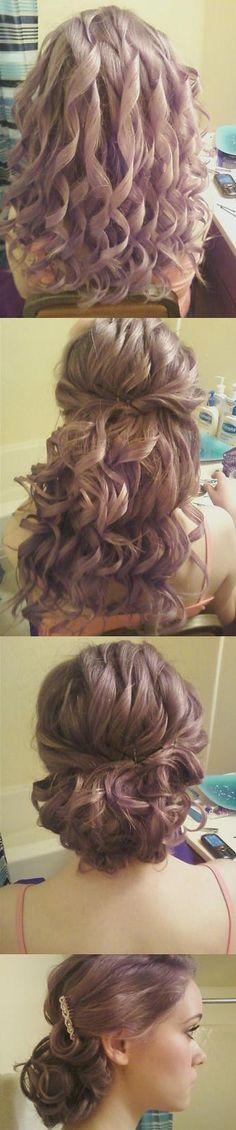 pin curls half updo
