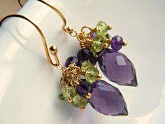 Amethyst earrings handmade gemstone cluster by BohemianPleasures, $35.00