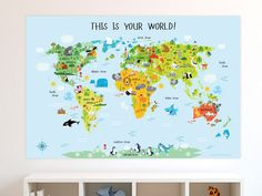 Growing up made fun, surrounded by educational, bright and inviting artwork from Pictureta. Playroom wall decor, kids room poster, nursery maps,