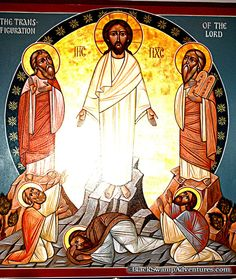 HK: Koptisch. De transfiguratie op de berg Tabor, Jezus ontmoet Elija en Mozes uit het OT. Jakob, Petrus en Johannes zien zijn ware goddelijke gedaante.