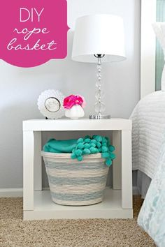 Rope Basket - 19 Amazing DIY Home Decor Projects - like the rope basket but love the idea for a night stand to be like this even more