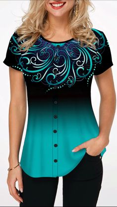 Women'S Cyan Round Neck Short Sleeve Tunic Casual Blouse Color Block Printed Button Detail Top By Rosewe Printed Round Neck Button Embellished Blouse Trendy Tops For Women, Blouses For Women, Stylish Tops, Look Fashion, Trendy Fashion, Trendy Outfits, India Fashion, Street Fashion, Girl Outfits