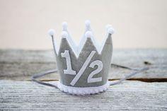 Boys 1/2 Birthday Mini Crown - Grey and White