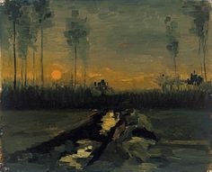 Evening Landscape (1885, oil on canvas mounted on cardboard) / by Vincent van Gogh