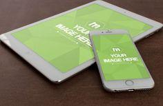 Free White iPad and iPhone on Desk Mockup Template | ShareTemplates