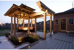 Elevated lounge zone housed under and integrated pergola style roof. From Season 3 Episode 1 of Deck