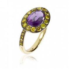 Yellow diamonds & amethyst 18k gold ring