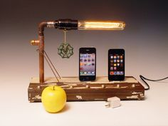 iPhone/iPod Dock Table with Lamp. Steampunk.