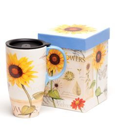 Look what I found on #zulily! Yellow & Red Sunflowers 17-Oz. Travel Mug by Cypress Home #zulilyfinds