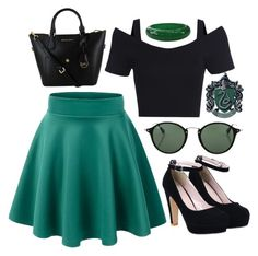 """Slytherin"" by pikabee93 ❤ liked on Polyvore featuring Ray-Ban"