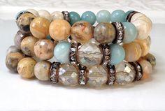On Sale Boho Amazonite Blue Bead Bracelet Rustic by LoveandLulu