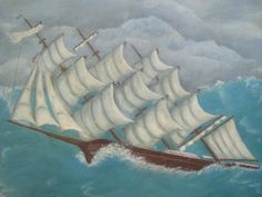 Mid Century Painting of Ship during Stylized Storm by Esoterique50, $120.00