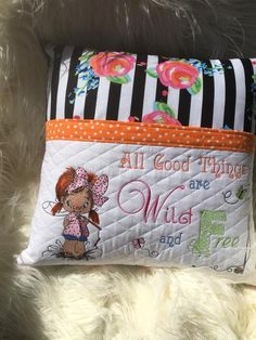 Embroidered pillow with adorable little fisher girl design Author: Kimberly Jo Hollady #embroideredpillow #pocketreading #littlefisher #embroiderydesign #stitches #HomeDecoration #GirlsRoom #RedHair #CuteGirl design available here https://embroideres.com/cute-little-fisher-girl-embroidery-design-25204