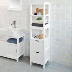 White Bathroom Storage Cabinet, Bathroom Linen Tower, Storage Cabinet With Drawers, Bathroom Floor Cabinets, Bath Cabinets, Bathroom Flooring, Storage Cabinets, Bathroom Furniture, Linen Cabinets