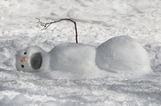 Fallen Snowman,lol. We'll have to do this! And it looks easier to make too...