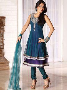 #Blue Net #Anarkali Churidar kameez