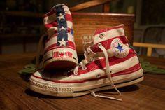 $89 CHUCK TAYLOR ALL-STAR STARS & BARS CONVERSE HI Made in USA FLAG STRIPES #Converse #Athletic