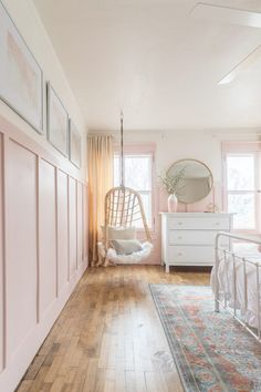 Pink and Gold Girls Bedroom. hanging wicker chair in pink and gold girls bedroom. A beautiful Pink and Gold Girls Bedroom with a modern yet delicate touch, fun seating, and functional desk space perfect for all ages! Big Girl Bedrooms, Pink Bedrooms, Little Girl Rooms, Teen Bedroom, Girls Pink Bedroom Ideas, Girls Bedroom Light, Girls Shared Bedrooms, Swing In Bedroom, Rustic Girls Bedroom