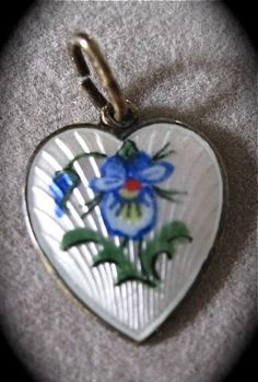 Guilloche' Enamel Heart Charm A+ from jacknjill on Ruby Lane