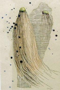 """TOYEN Marie Čermínová (1902-1980): """"Dívka s dlouhým závojem"""""""