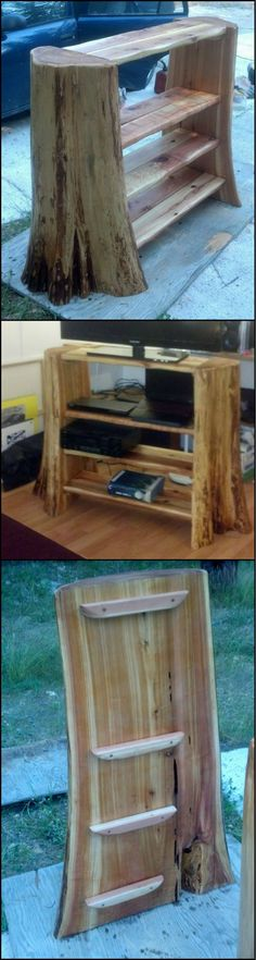 """Looking for an idea on how to use a tree stump? Why not turn it into a bookshelf?   For more bookshelf inspiration view our """"Bookshelves"""" album on our site at http://theownerbuildernetwork.co/7ag2  Would you like one of these in your home?"""