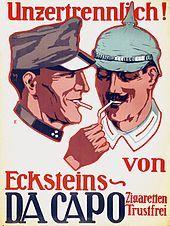 """Trustfrei - Es fand sich der Aufdruck """"Trustfrei"""" auf Packungen und Werbeplakaten. Das signalisierte, diese Zigaretten seien nicht von anglo-amerikanischem Kapital unterwandert."""