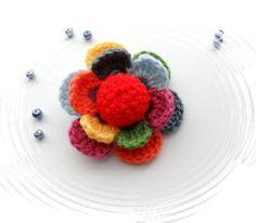 Crochet Flower Multicolored Flower Corsage by CraftsbySigita