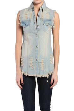 TheMogan Retro Vintage Ripped Cuf Off Denim Vest