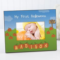 My First Halloween Frame - the baby's name is spelled out in pumpkin letters...adorable!