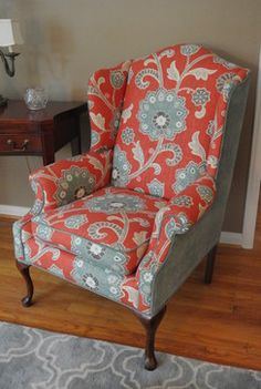 Wingback Chair Makeover - Transitional - Living Room - Detroit - Minnick Interiors