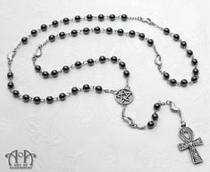 Elemental Gothic Ankh Hematite Rosary Necklace - Art of Adornment 92762add7b3c