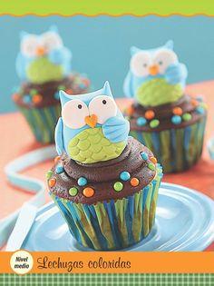Cup Cakes Buho.. decorado Fondant Parte II